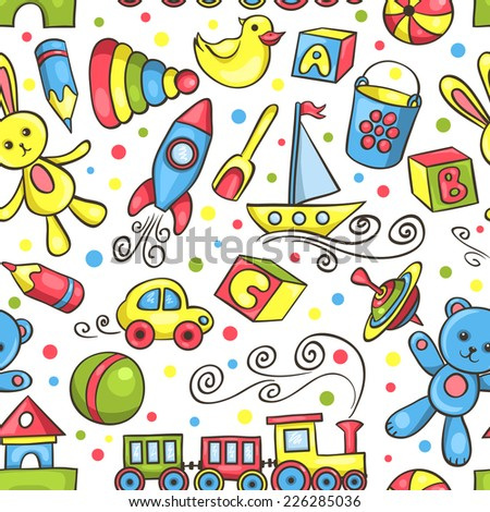 Cute hand-drawn seamless pattern with toys. Vector background. - stock vector