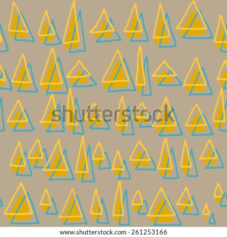Cute hand drawn seamless pattern with triangles.Geometric background in multicolors. Multicolor texture.Vector backdrop, summer template.Use for wallpaper, pattern fills, web page background, textile. - stock vector