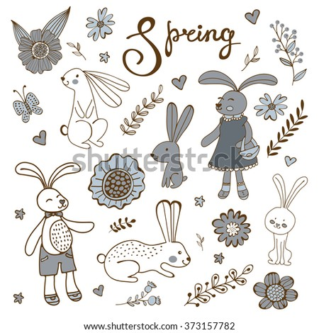 Cute hand drawn spring collection with rabbits and flowers - stock vector