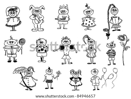 cute hand  drawn vector characters - stock vector