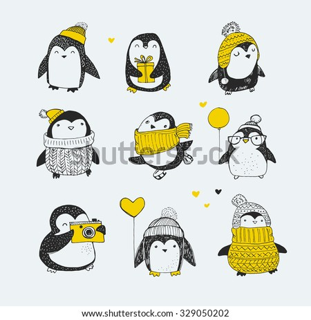 Cute hand drawn, vector penguins set - Merry Christmas greetings - stock vector