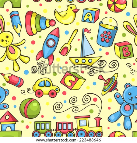 Cute hand-drawn vector seamless pattern with toys. Cartoon background. - stock vector