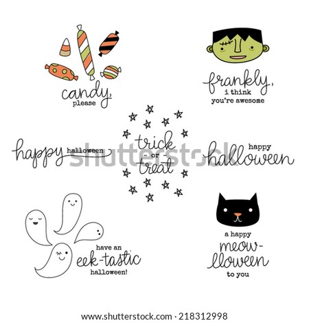 Cute Hand Lettered Punny Halloween Phrases Stock Vector 218312998 ...