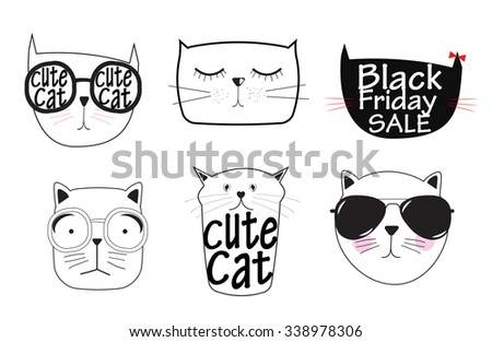 Cute Handdrawn Cat Set Vector Illustration EPS10 - stock vector