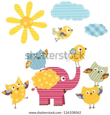 cute happy birds & elephant - stock vector