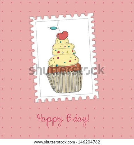 cute happy birth card with cake. vector illustration - stock vector