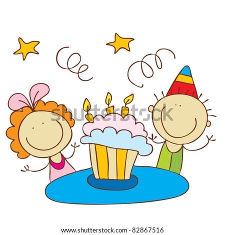Cute Happy Birthday - stock vector