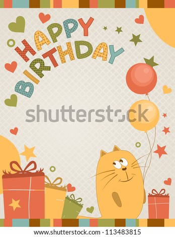 Cute happy birthday card cat stock vector 113483815 shutterstock cute happy birthday card a cat bookmarktalkfo Images