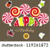 Cute happy birthday card/Vector illustration - stock vector