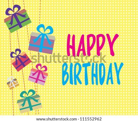 cute happy birthday card/ Vector illustration - stock vector