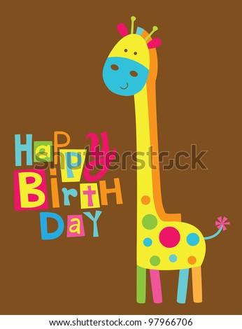 cute happy birthday card with fun giraffe. vector illustration - stock vector