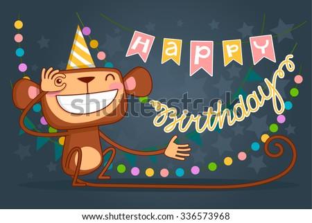 Cute Happy Birthday Card Fun Monkey Stock Vector Royalty Free