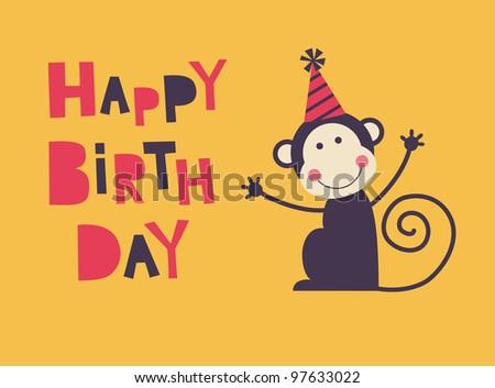 Cute Happy Birthday Card Fun Monkey Vector 97633028 – Monkey Birthday Card