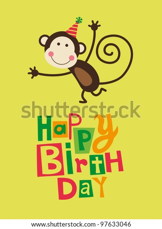 cute happy birthday card with fun monkey. vector illustration - stock vector