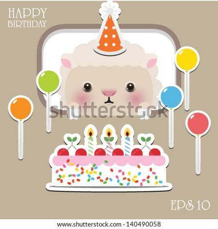 Cute Happy Birthday Card Fun Sheep Vector 140490058 – Sheep Birthday Cards