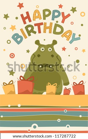 cute happy birthday card with hippo - stock vector