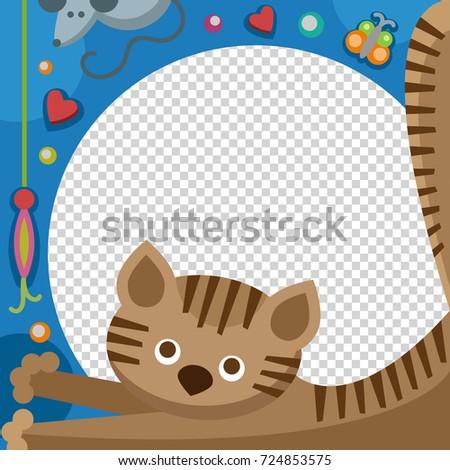 Cute Happy Birthday Cat Photo Frame Stock Vector (2018) 724853575 ...