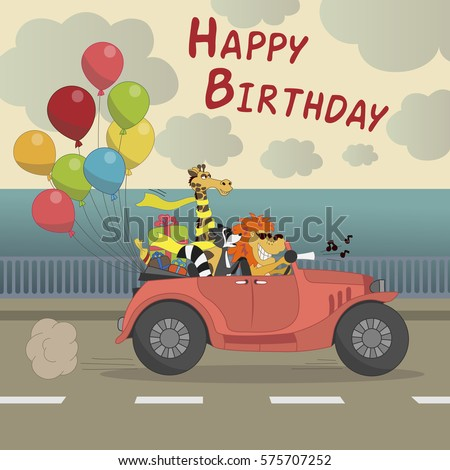 Cute happy birthday greeting card child stock vector 575707252 cute happy birthday greeting card for child fun cartoon style there are birthday gifts funny animals negle Image collections