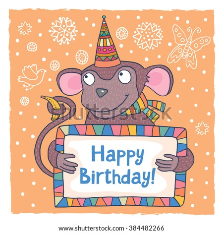 Cute Happy Birthday Greeting Card Template Vector 384483739 – Cute Birthday Greeting Cards