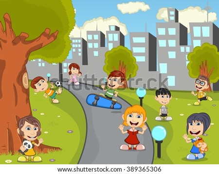 Cute happy cartoon kids playing in green park cartoon vector illustration - stock vector