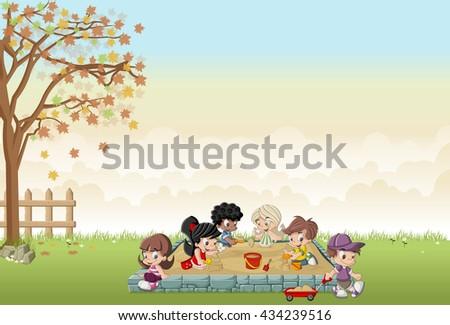 Cute happy cartoon kids playing in sandbox on the backyard - stock vector