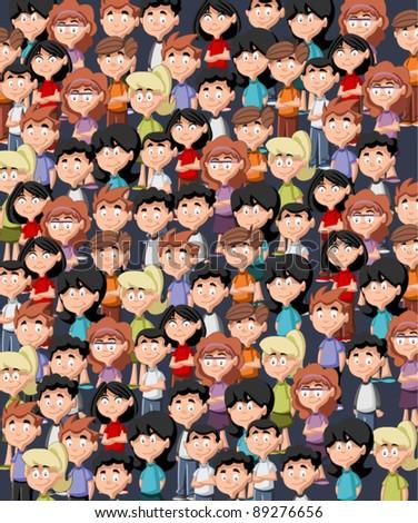 Cute happy cartoon kids texture wallpaper - stock vector