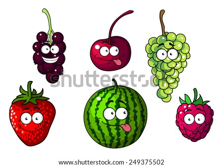 Cute happy colorful cartoon fruits and berries depicting a strawberry, cherry, green and purple grapes, watermelon and raspberry , vector illustration on white - stock vector