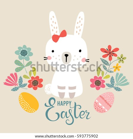 Vector Happy Easter Card Template Eggs Stock Vector 591912014