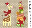 Cute happy Giraffe with a lot of gifts, a red scarf and a Santa Claus's hat. Christmas greeting card. - stock vector