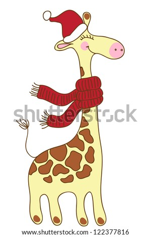 Cute happy Giraffe with a red scarf and a Santa Claus's hat. Christmas greeting card.