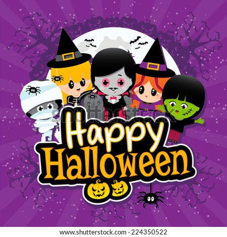 Cute Happy Halloween text banner with cartoon Children on a Purple Textured Banner with Vampires, Mummies, Witches, Spiders and Pumpkins. - stock vector