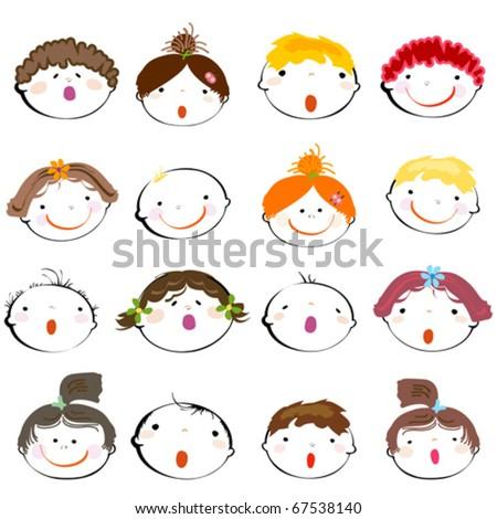 cute happy kids - stock vector
