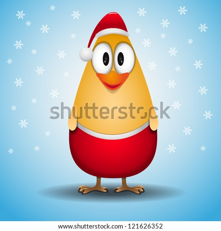 Cute happy little yellow chicken christmas greeting card - stock vector