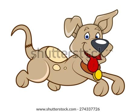 Cute Happy Puppy Running Vector - stock vector