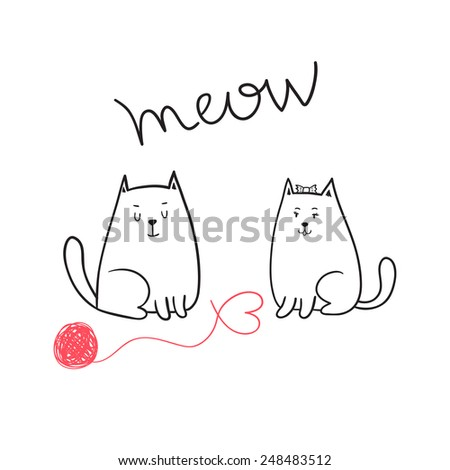 Cute Happy valentine's day card with cats in love - stock vector