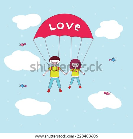 cute happy young couple hold hands and jumping with a parachute. vector illustration. - stock vector