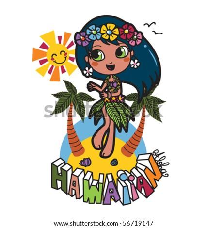 Cute Hawaiian girl happy dancing on the beach with flower garland on her hair - stock vector