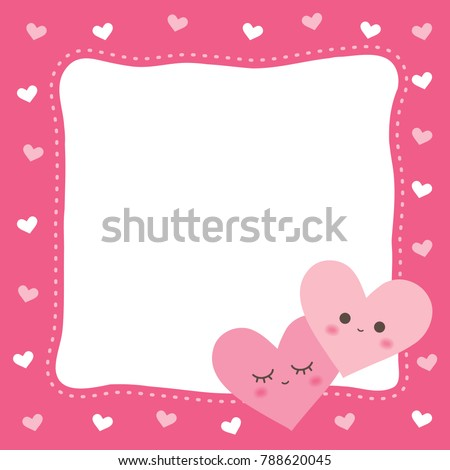 Cute Heart Frame Pink Valentines Day Stock Vector (Royalty Free ...