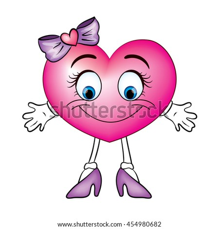 Cute heart in shoes and bows. Vector illustration for greeting card, poster, or print on clothes. Heart with legs.