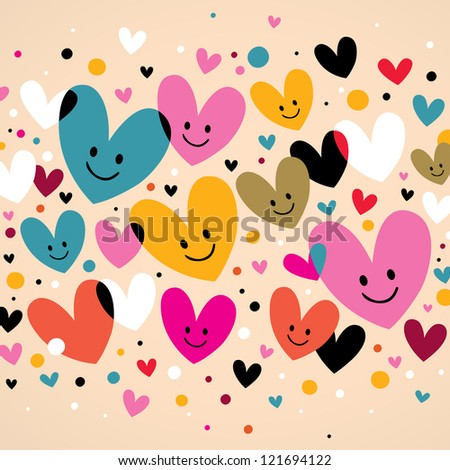cute hearts - stock vector