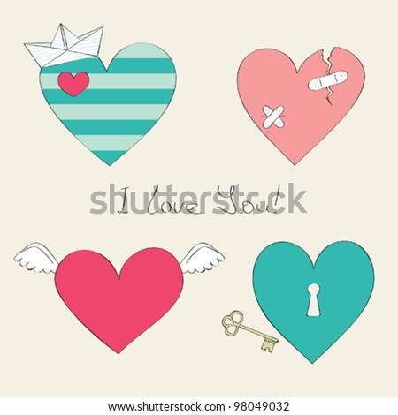 Cute hearts collection - stock vector