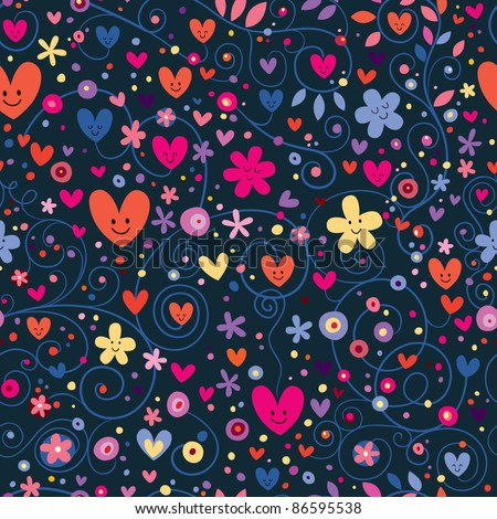 cute hearts & flowers floral pattern - stock vector