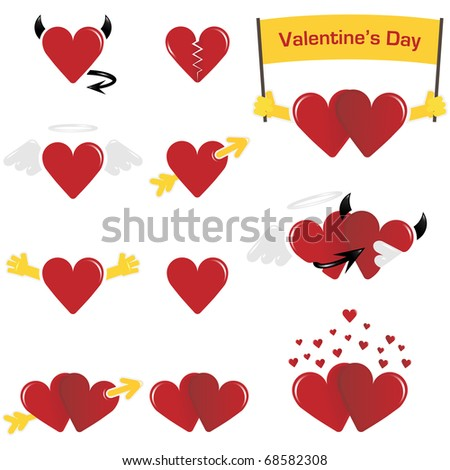 Cute Hearts For Valentine's Day - stock vector