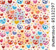 cute hearts pattern - stock vector