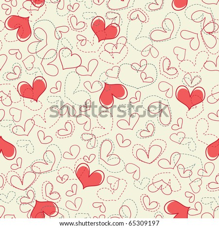 Cute hearts seamless background - stock vector