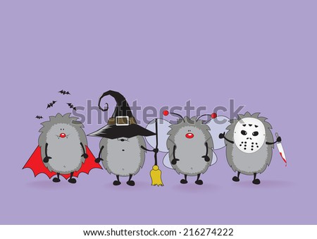 cute hedgehogs dressed for halloween/ready for halloween - stock vector