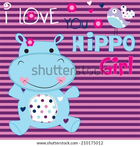cute hippo girl with bird striped background vector illustration - stock vector