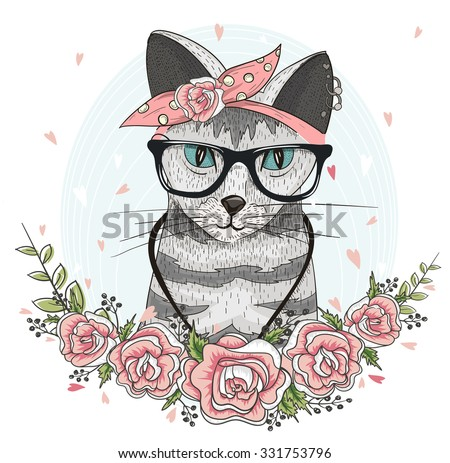 Cute hipster cat with glasses, scarf and flower. hipster, hipster, hipster, hipster, hipster, hipster, hipster, hipster, hipster, hipster, hipster, hipster, hipster, hipster, hipster, hipster, hipster