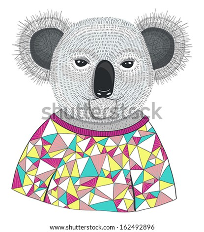 Cute hipster koala. - stock vector