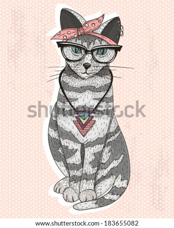 Cute hipster rockabilly cat with head scarf, glasses and necklace. cat, cat, cat, cat, cat, cat, cat, cat, cat, cat, cat, cat, cat, cat, cat, cat, cat, cat, cat, cat, cat, cat, cat, cat, cat, cat, cat
